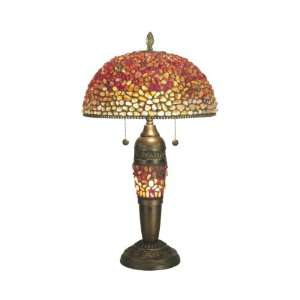 Creek Table Lamp, Antique Bronze and Art Glass Shade
