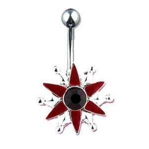 Red star belly ring Jewelry