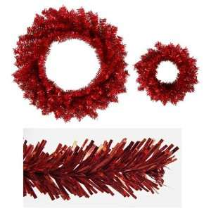 Red Tinsel Artificial Christmas Wreaths   10 & 18