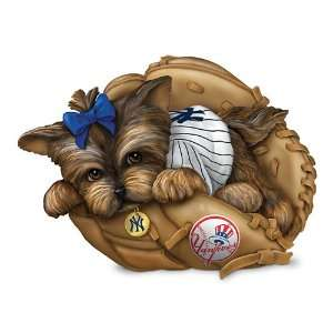Yankees Yorkie Dog Figurine Fur ever A Fan by The Hamilton Collection