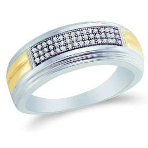 and Yellow Two Tone Gold Diamond Three Rows MENS Wedding Band Ring
