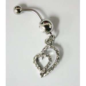 Cubic Zirconia Gemstone Double Heart Belly Ring   Navel Ring Jewelry