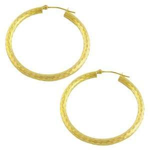 14 Karat Yellow Gold Diamond Cut Hoop Earrings (25 mm