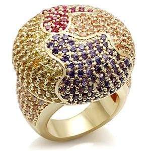 MultiColor Cubic Zirconia Brass Faux Gold Plated Ring AM Jewelry