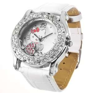 Ladies Hello Kitty metal cased rhinestone watch with syn leather strap
