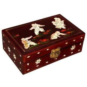 EXP Handmade Lacquer & Mother Of Pearl Jewelry Box With Mirror