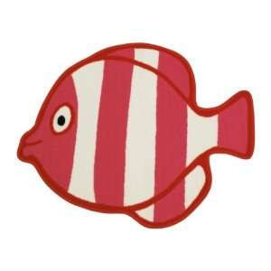 31 X 26 Red and White Fish Design Kids Room Rug Toys & Games