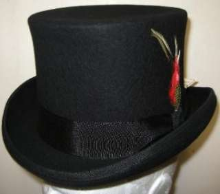 New Mens Black Top Hat   100% Wool, Extremely Stylish