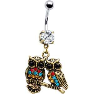 Antiqued Multi Gem Dual Owl Belly Ring Jewelry