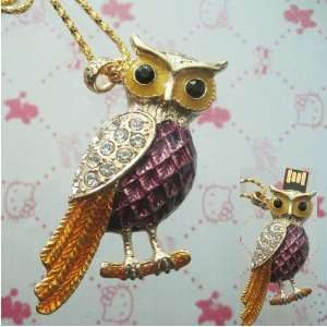 High Quality 8 GB Owl Crystal Jewelry USB Flash Memory