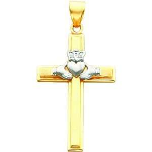14K Two Tone Gold Claddagh Cross Pendant Jewelry