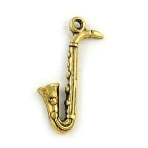 25mm Antique Gold Saxophone Pewter Charm Arts, Crafts