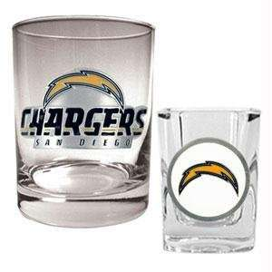 San Diego Chargers NFL Rocks Glass & Shot Glass Set   Primary logo