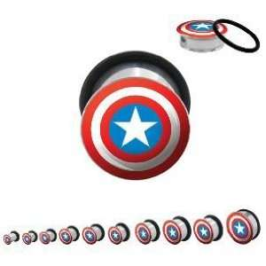Captain America Marvel 316L Surgical Steel Plugs   O Ring   00G (10mm