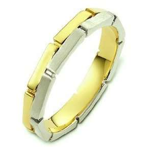 Unique 18 Karat Two Tone Gold Link Style Wedding Band Ring