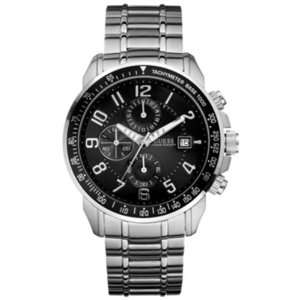 Silver Stainless Steel Quartz Watch with Black Dial Guess Watches