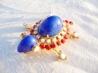 RARE Vintage Red White Blue Glass Rhinestone TURTLE BROOCH by Juliana