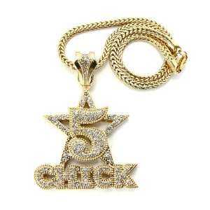 Nicki Minaj 5 Star Barbie Pendant with a 20 Inch Franco Chain Necklace