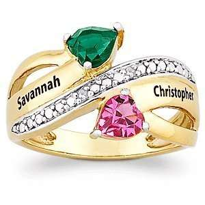 Couples Two Tone Name & Birthstone Hearts Ring with