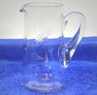 Vintage Half Daisy Floral Cut Glass Water/Milk Pitcher 56 oz