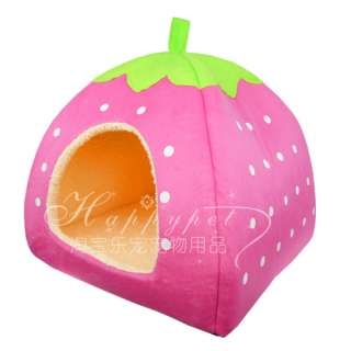 soft strawberry pet dog/cat bed house kennel doggy doghole cute free