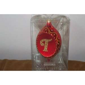 Kurt Adler Collectible Red & Gold Glass Initial Ornament (F) NEW