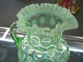 Jefferson Opalescent Vaseline Glass Coin Dot Pitcher