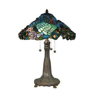 TT90431 Tiffany Table Lamp, Antique Bronze/Verde and Art Glass Shade